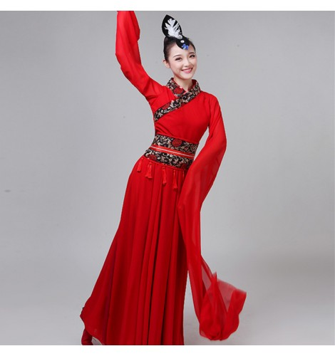 Women S Chinese Folk Dance Costumes For Female Fairy Traditional Clical Water Fall Sleeves Anime Cosplay Dresses