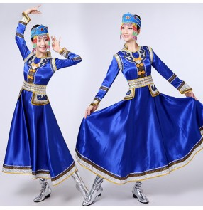 Women's chinese folk dance costumes for female royal blue red ancient traditional Mongolian grassland dancing dress robes