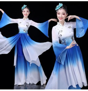 Women's chinese folk dance costumes girls blue green yangko fan umbrella fairy stage performance classical dance dress costumes