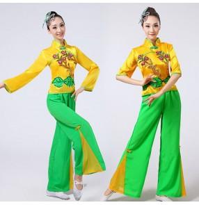 Women's chinese folk dance costumes green with yellow yangko fan dance costumes