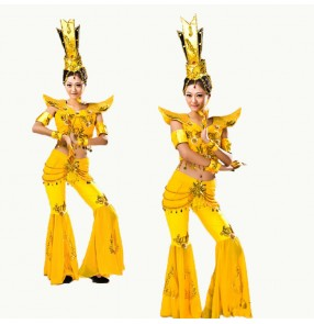 Women's chinese folk dance costumes guanyin dunhuang dance stage performance dresses drama  classical traditional dance fairy cosplay dresses