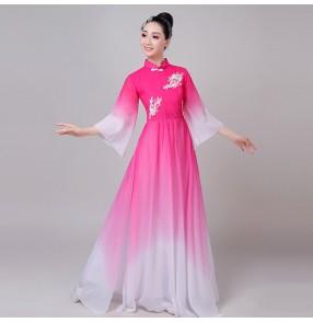 Women's chinese folk dance costumes hanfu yangko fan umbrella traditional classical dance dress