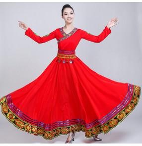 Women's Chinese folk dance costumes national minority Tibet Mongolian stage performance drama cosplay robes dresses