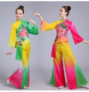 Women's chinese folk dance costumes rainbow colored ancient traditional stage performance yangko fan umbrella dance dresses