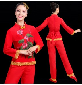 women's Chinese folk dance costumes red color Yangko clothing waist drum clothing square dance china traditional fan umbrella dance performance clothing