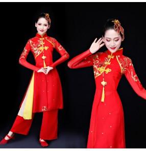 Women's Chinese folk dance costumes red dragon drummer dress ancient traditional yangko fan umbrella dance dresses
