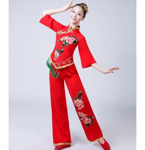 Women's chinese folk dance costumes red green chinese traditional yangko fan umbrella classical dance dress for female
