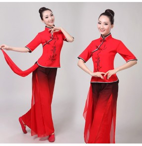 Women's chinese folk dance costumes red with black color yangko umbrella fan dance clothes for female