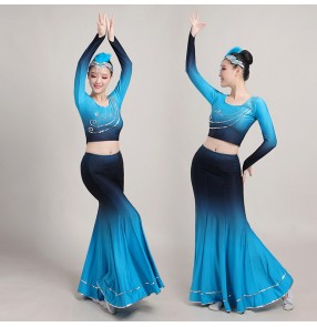 Women's chinese folk dance costumes thailand style peacock belly dance costumes fishtail skirt modern dance costumes