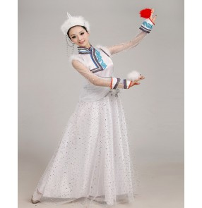 Women's Chinese folk dance costumes white color Mongolian dance dresses ancient traditional performance dancing robes