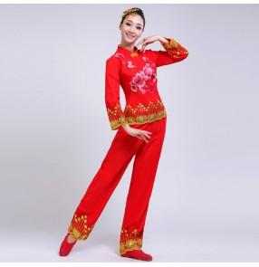 Women's Chinese folk dance costumes yangko dresses red colored ancient traditional yange fan umbrella dance dresses