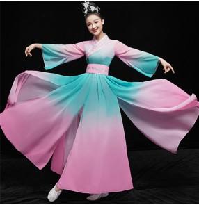Women's chinese folk dance dress hanfu fairy dresses ancient traditional classical yangko dance fan umbrella dance costumes