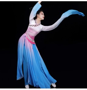 Women's chinese folk dance dress pink with blue gradient water sleelves chinese classical dance fairy singers performance dresses