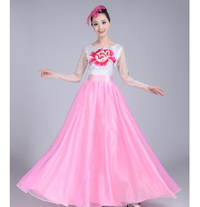 Women's Chinese folk dance dresses ancient traditional traditional classical stage performance yangko fan dancing costumes dress