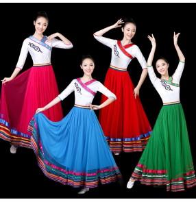 Women's chinese folk dance dresses for female minority Mongolian Tibet  dance stage performance dresses long length robes