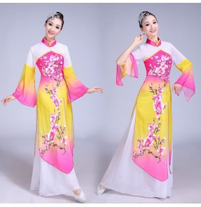 Women's Chinese folk dance dresses green pink blue yellow fairy ancient traditional classical dance Chinese dresses yangko fan dance costumes