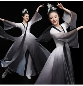 Women's chinese folk dance dresses hanfu fairy dresses ancient traditional fan umbrella classical black gradient colored costumes