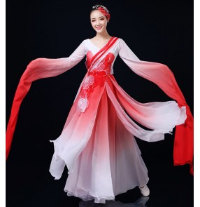 Women's chinese folk dance dresses korean japanese kimono fairy dresses hanfu water sleeves stage performance classical dance dresses