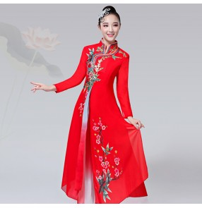 Women's chinese folk dance dresses pink red classical dance fairy cosplay ancient traditional  yangko fan dance costumes