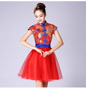 Women's chinese folk dance dresses red gold colored stage performance china dragon style classical traditional drummer square dance singers dresses