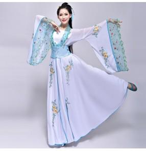 Women's chinese folk dance  white dance costumes ancient traditional fairy princess anime cosplay hanfu kimono Korean hanbok robes dresses