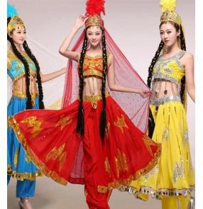 Women's chinese folk dance xinjiang belly dance costumes stage performance Xinjiang Uyghur Dance Performance Costumes for female