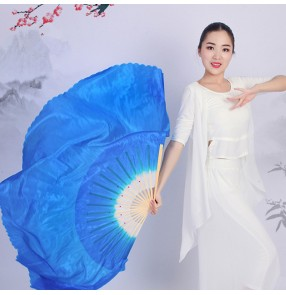 Women's chinese folk fan dance silk fans blue pink yellow colored fairy classical traditional dance fans