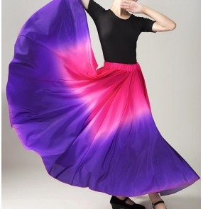 Women's chinese folk xinjiang minority dance skirts violet with pink gradient color modern dance ballet dance skirts