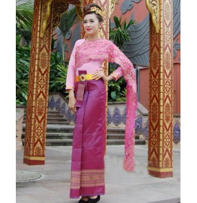 Women's Chinese folk YI minority dance costumes Thailand festival evening party celebration stage performance drama photography cosplay dresses