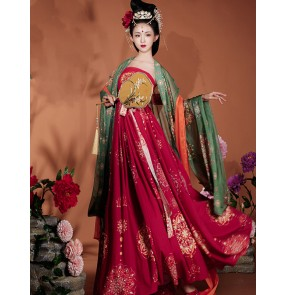 Women's chinese han fu tang dynasty empress princess dresses stage performance drama film cosplay kimono dress photos shooting fairy ancient queen performance dresses