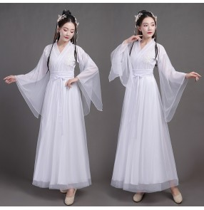 women's chinese hanfu Ancient chinese folk dance costume fairy princess dresses ancient style wide sleeve drama film performance costume