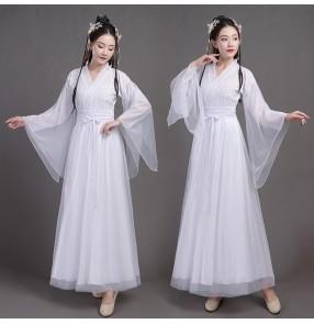 women's chinese hanfu Ancient chinese folk dance costume fairy princess dresses ancient style wide sleeve drama film performance costume