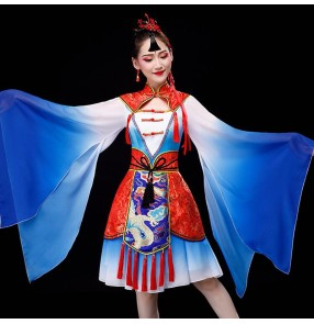 Women's chinese hanfu chinese folk dance dresses blue with red dragon qipao dresses stage performance chinese classical dance dress photos shooting dresses