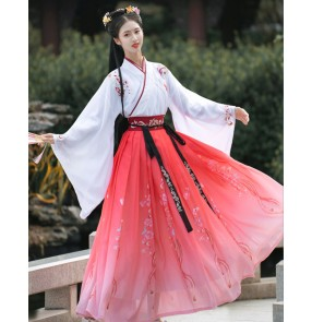 Women's chinese hanfu chinese traditional white with pink princess fairy film cosplay chinese ancient stage performance dresses kimono dresses for female