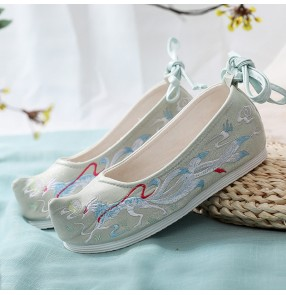 Women's chinese hanfu embroidered shoes fairy princess drama cosplay kimono hanbok dress performance clothing shoes for girls