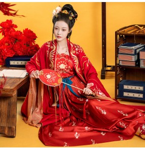 Women's chinese hanfu Han Tang dynasty empress dress film drama stage performance photos shooting ancient queen fairy princess cosplay dresses robes
