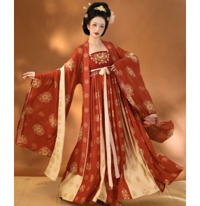 Women's chinese hanfu Tang dynasty empress queen photos shooting film cosplay dresses ancient fairy dresses stage performance kimono dress for female