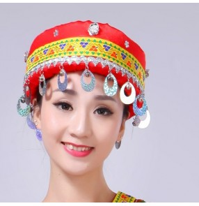 Women's Chinese Miao Hong minority folk dance headdress hats