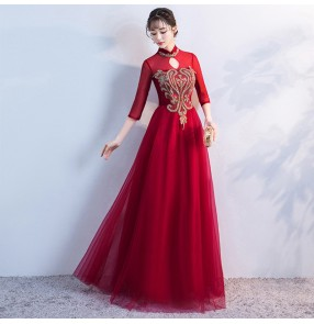 Women's Chinese qipao dresses retro traditional oriental host singers stage performance evening party dresses