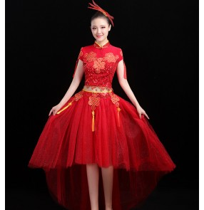 Women's Chinese red color drummer performance dresses oriental modern dance dress qipao dresses yangko stage performance costumes