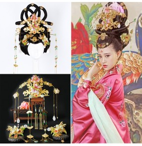 Women's chinese Tang dynasty empress wig princess fairy film movies cosplay wig with headdress