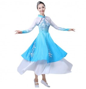 Women's chinese traditional folk dance costumes ancient fairy drama cosplay yangko fan umbrella dance stage performance dresses
