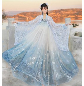 Women's chinese traditional hanfu pink blue princess empress fairy drama film cosplay dresses big wing photos shooting stage performance kimono dress for female