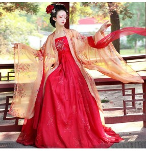 Women's chinese traditional hanfu tang dynasty empress queen cosplay dress for girls stage performance princess fairy kimono performance dresses robes