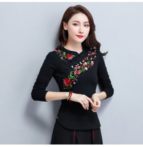 Women's Chinese traditional Qipao dress black green pink white  tops embroidered blouses