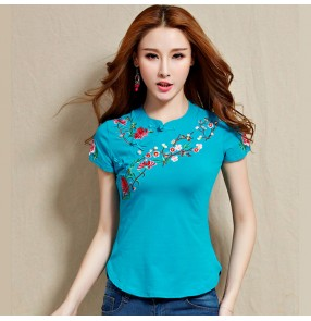 Women's Chinese traditional retro embroidered tops qipao blouses t shirts
