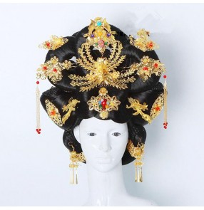 Women's chinese traditional tang dynasty film movies empress princess cosplay wig stage performance model show cosplay with headdress