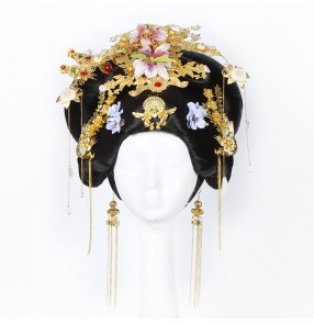 Women's chinese traditional tang empress wuzetian drama cosplay wig fairy princess photos model show performace wig with headdress