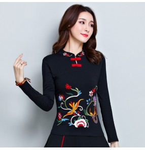 Women's Chinese traditional tang suit qipao dresses tops retro blouses embroidered Chinese minority shirts