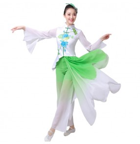 Women's Chinese traditional yangko dance costumes female fan umbrella fairy stage performance fan dance costumes dresses
